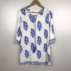 E2 Clothing Tunic Boho Dress Long Blouse White